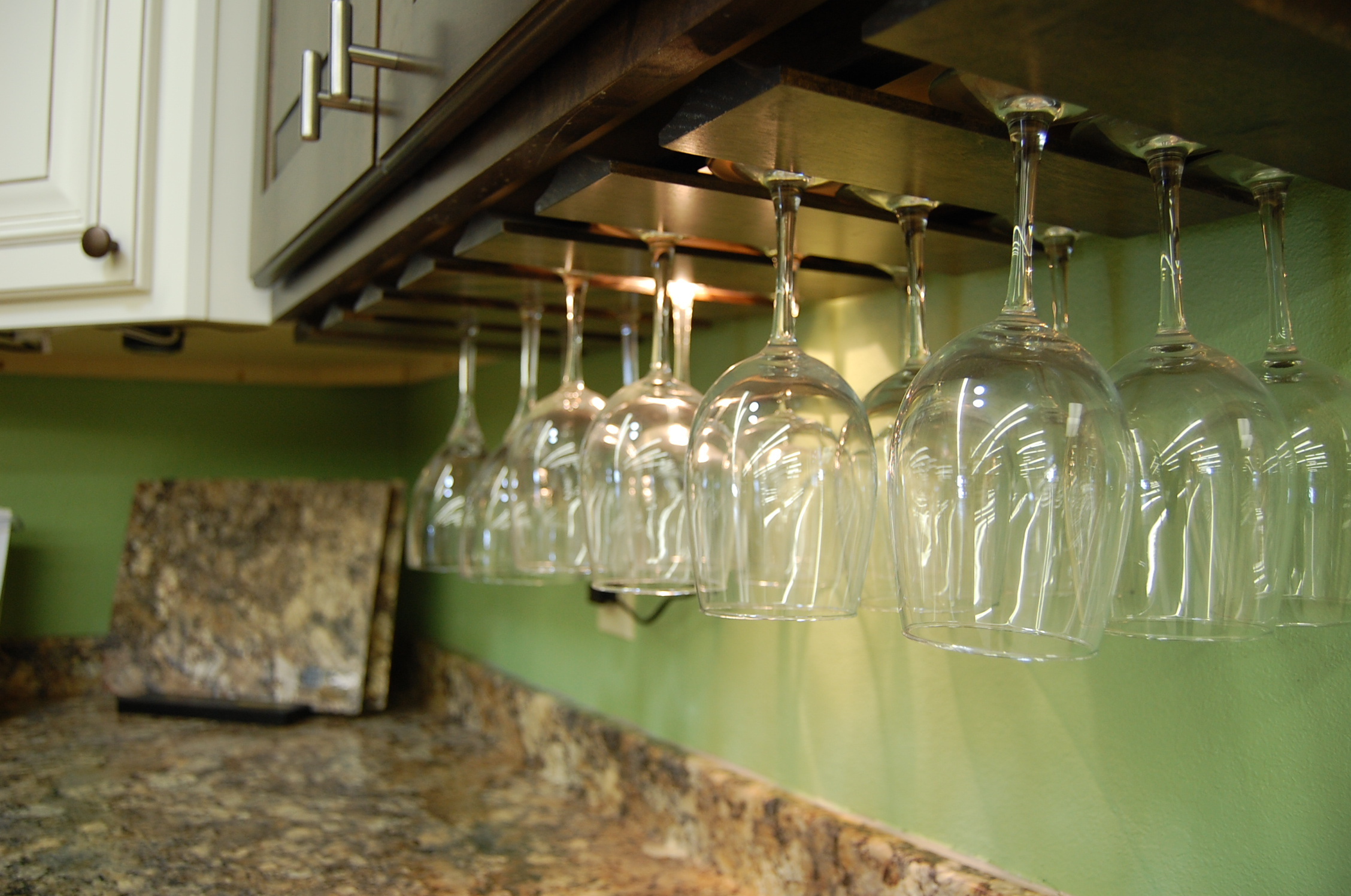 Countertop and wine glass holder